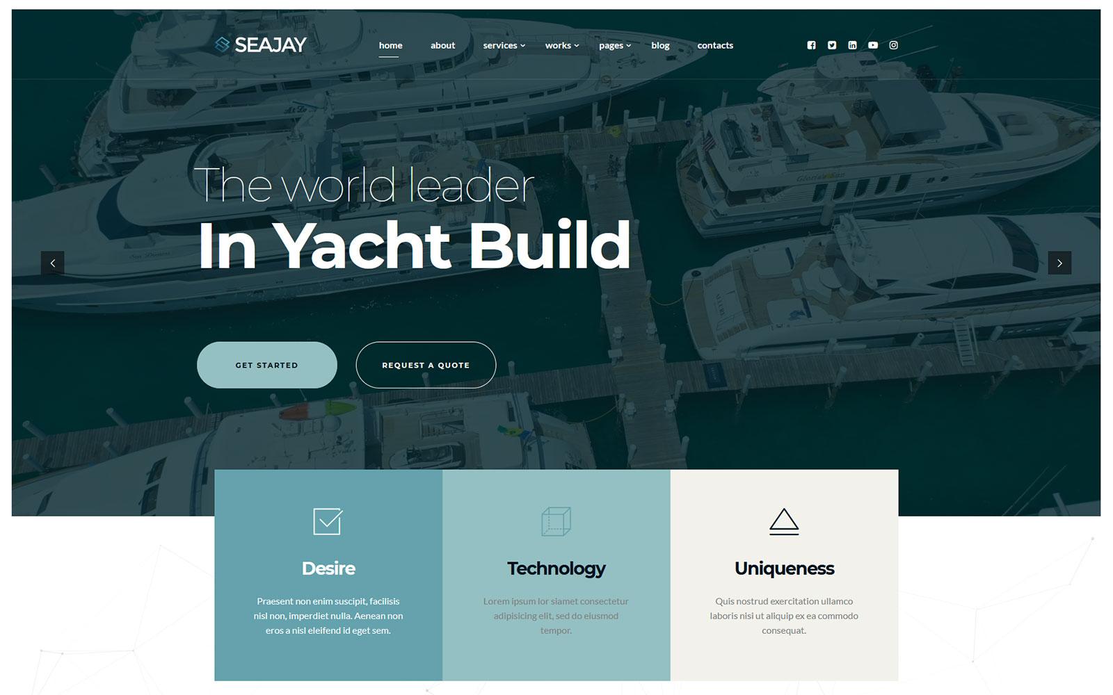 Seajay - Buy Sell Rent and Build Yacht WordPress theme