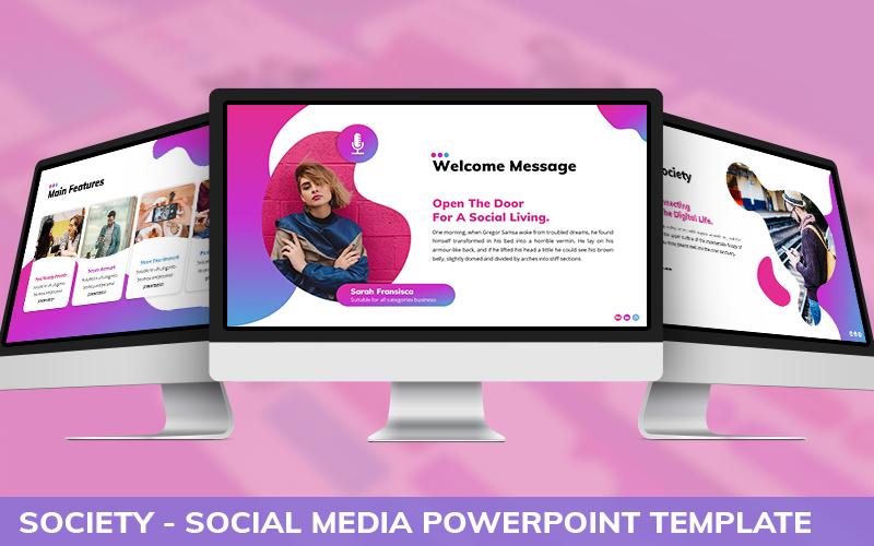 Society - Social Media Powerpoint Template