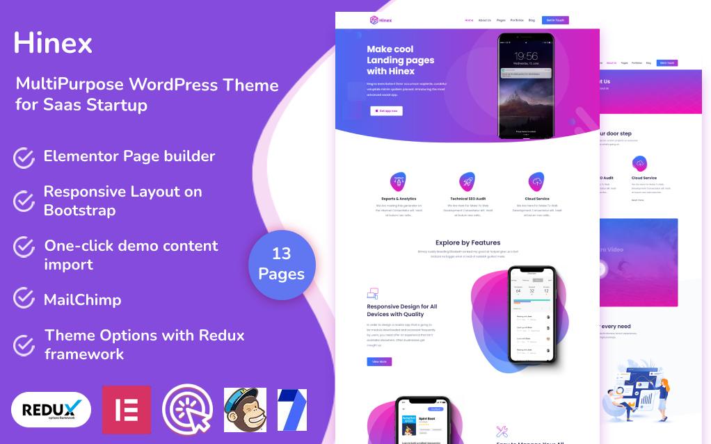Hinex - MultiPurpose WordPress Theme for Saas Startup