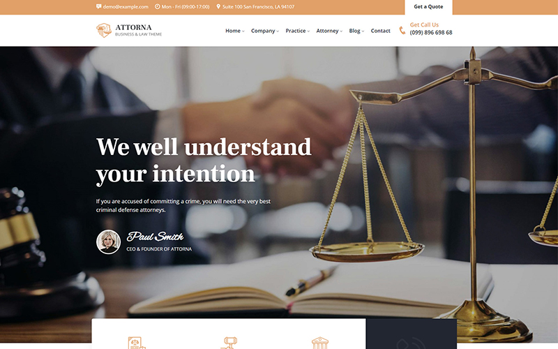 Attorna - Law, Lawyer & Attorney Responsive Website Template