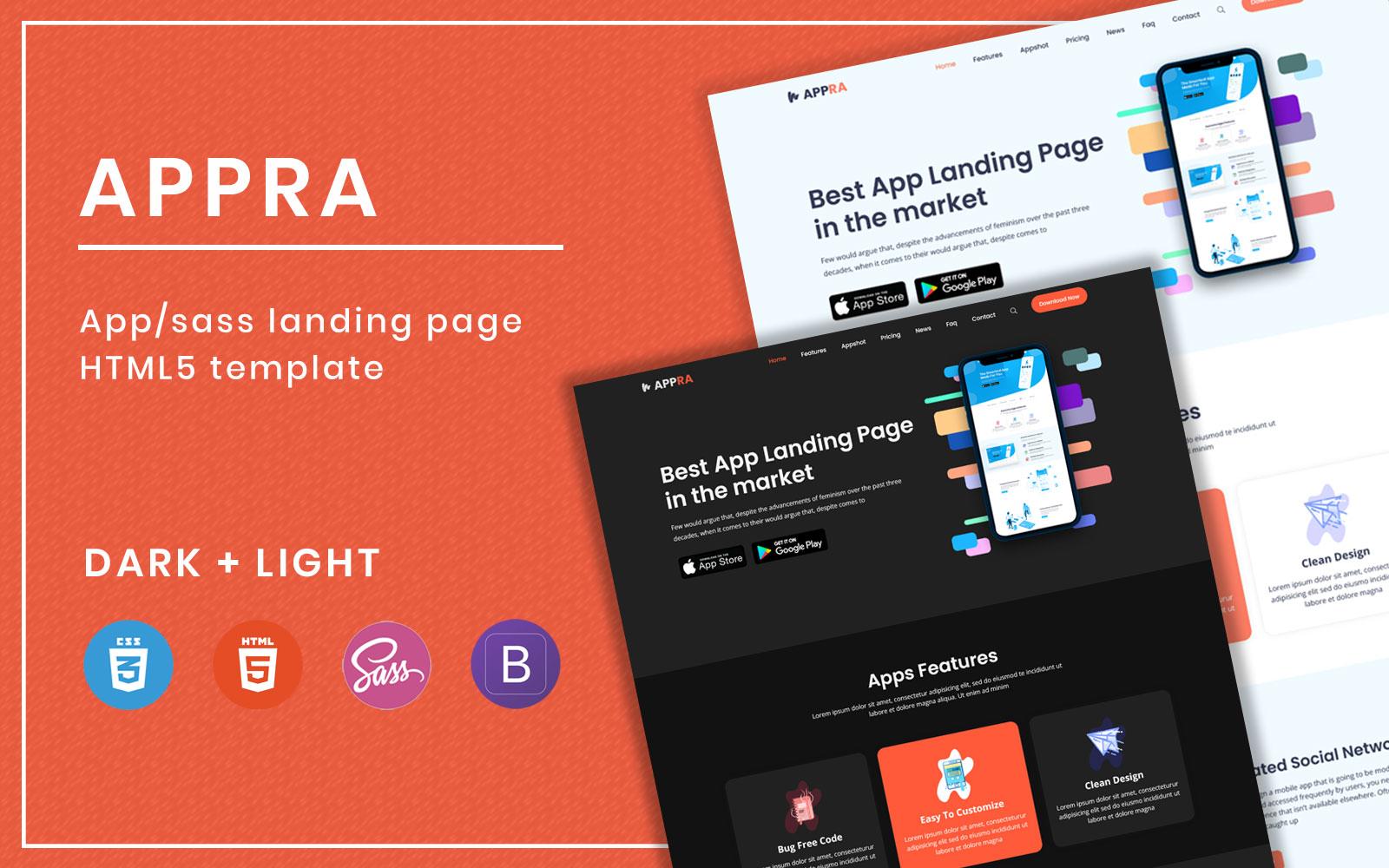 Appra - App landing page html5 template
