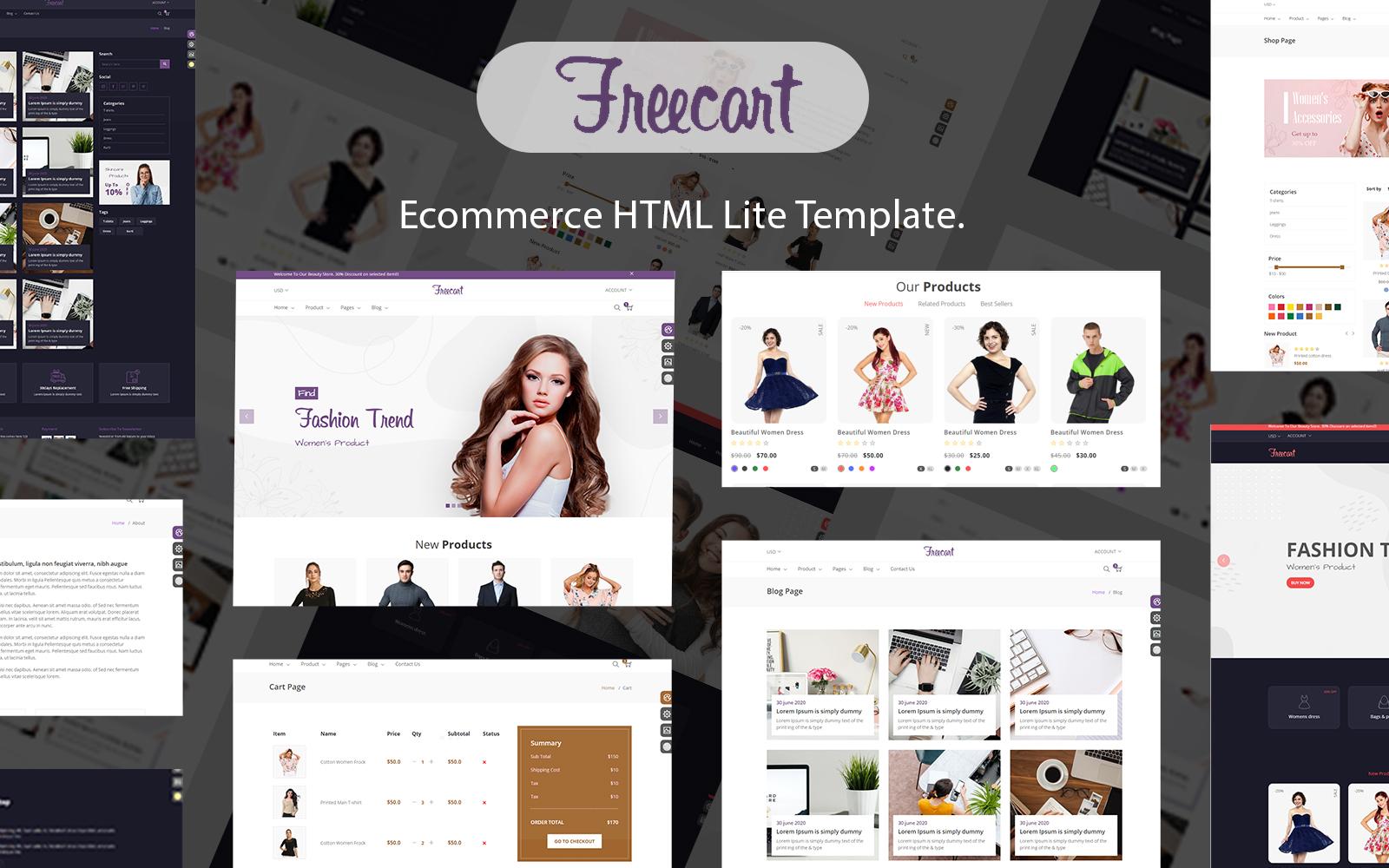 Free cart - Ecommerce HTML Multi Purpose Template.