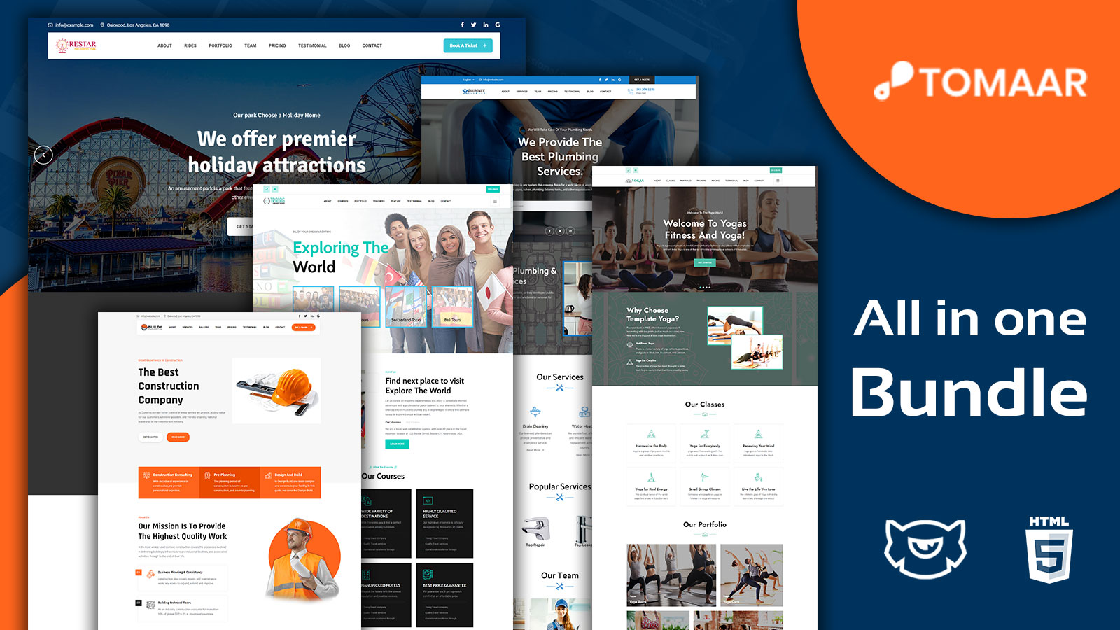 Toomar Business Multipurpose Landing Page Bundle Template