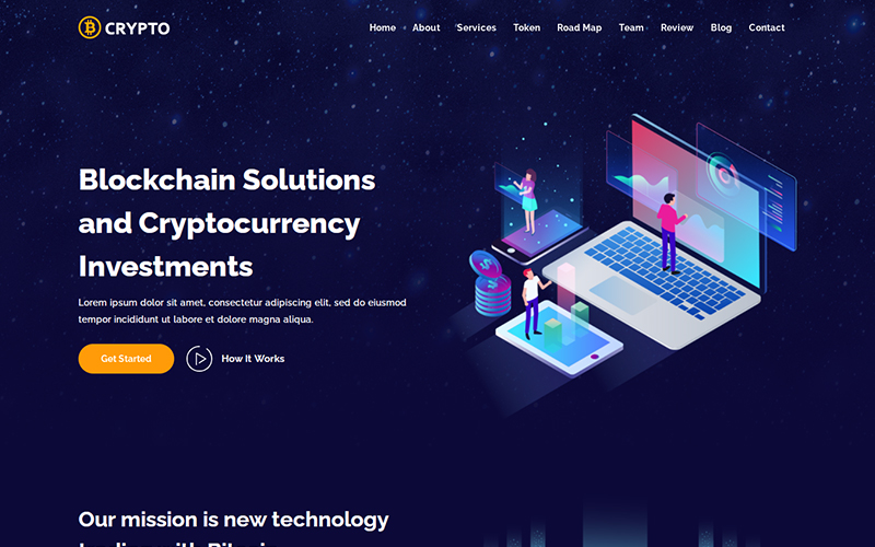 Crypto - ICO & Cryptocurrency Bitcoin Landing Page Template