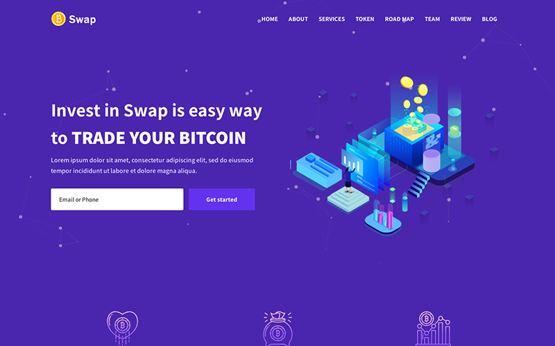 Swap - ICO & Cryptocurrency Bitcoin Landing Page Template