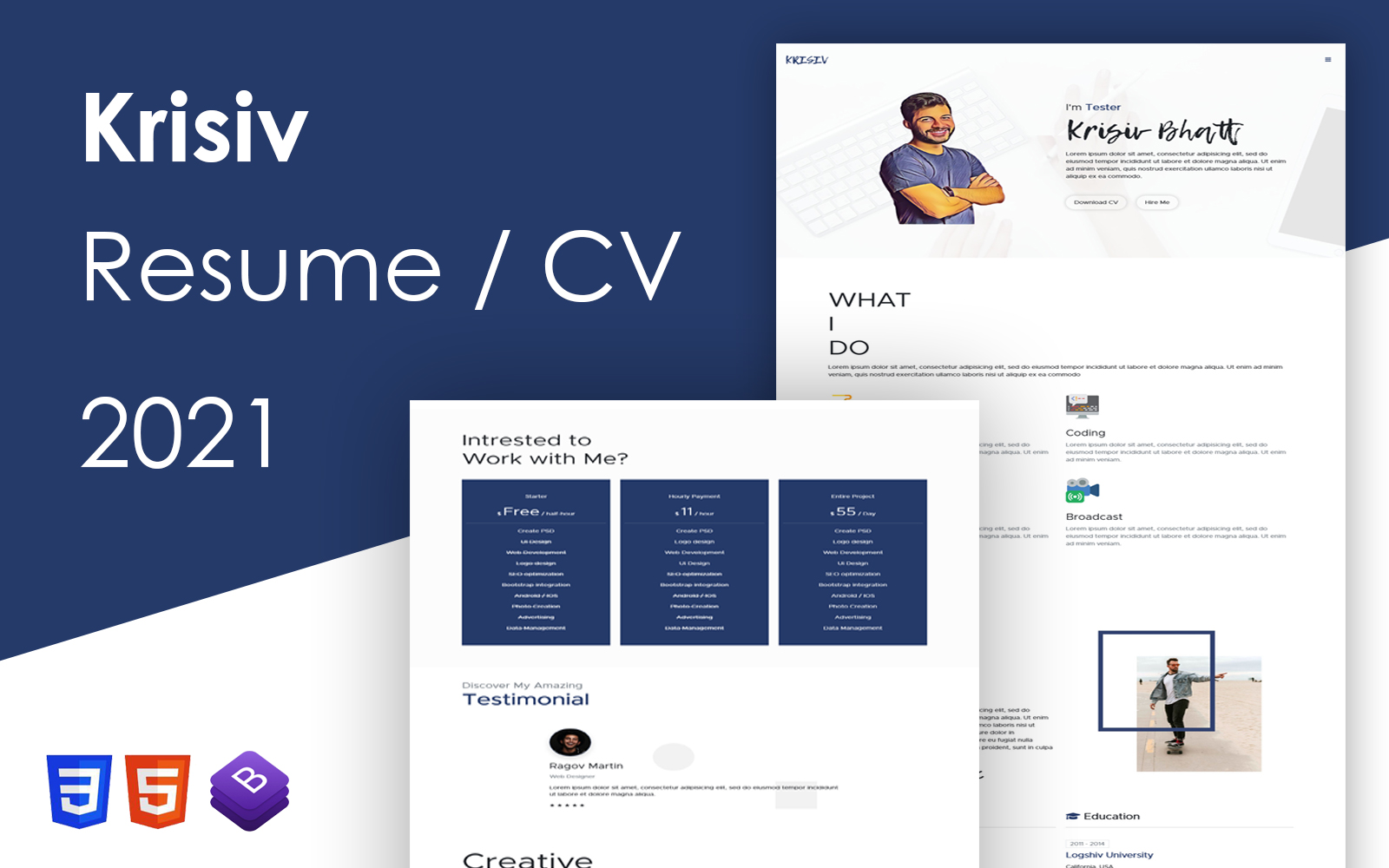 Krisiv - Resume CV One Page Bootstrap 5 Template