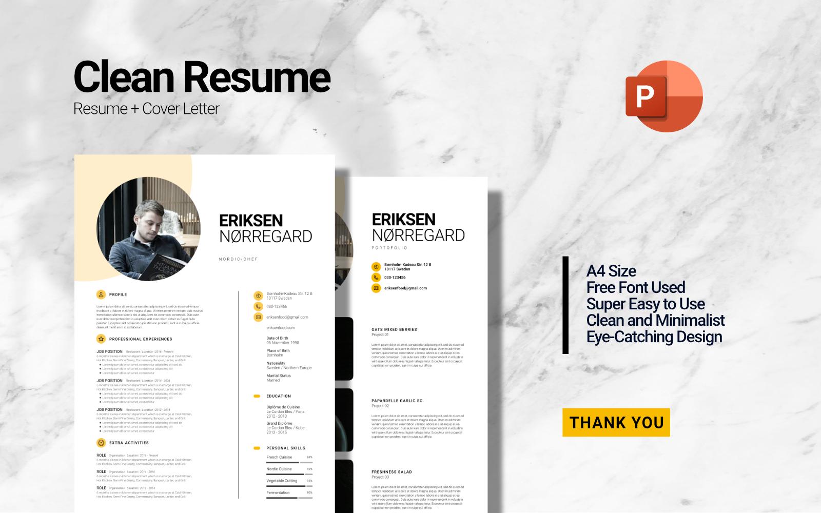 Clean Minimalist Curriculum Vitae - Resume Powerpoint Template