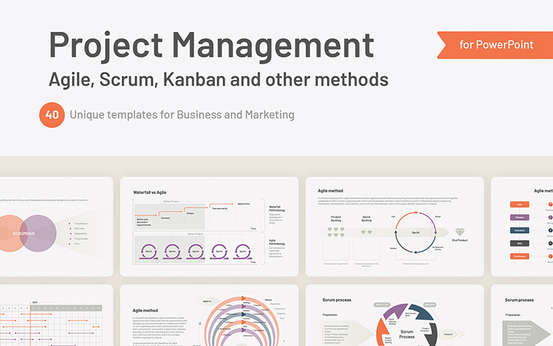 Project Management Agile, Scrum for PowerPoint Template
