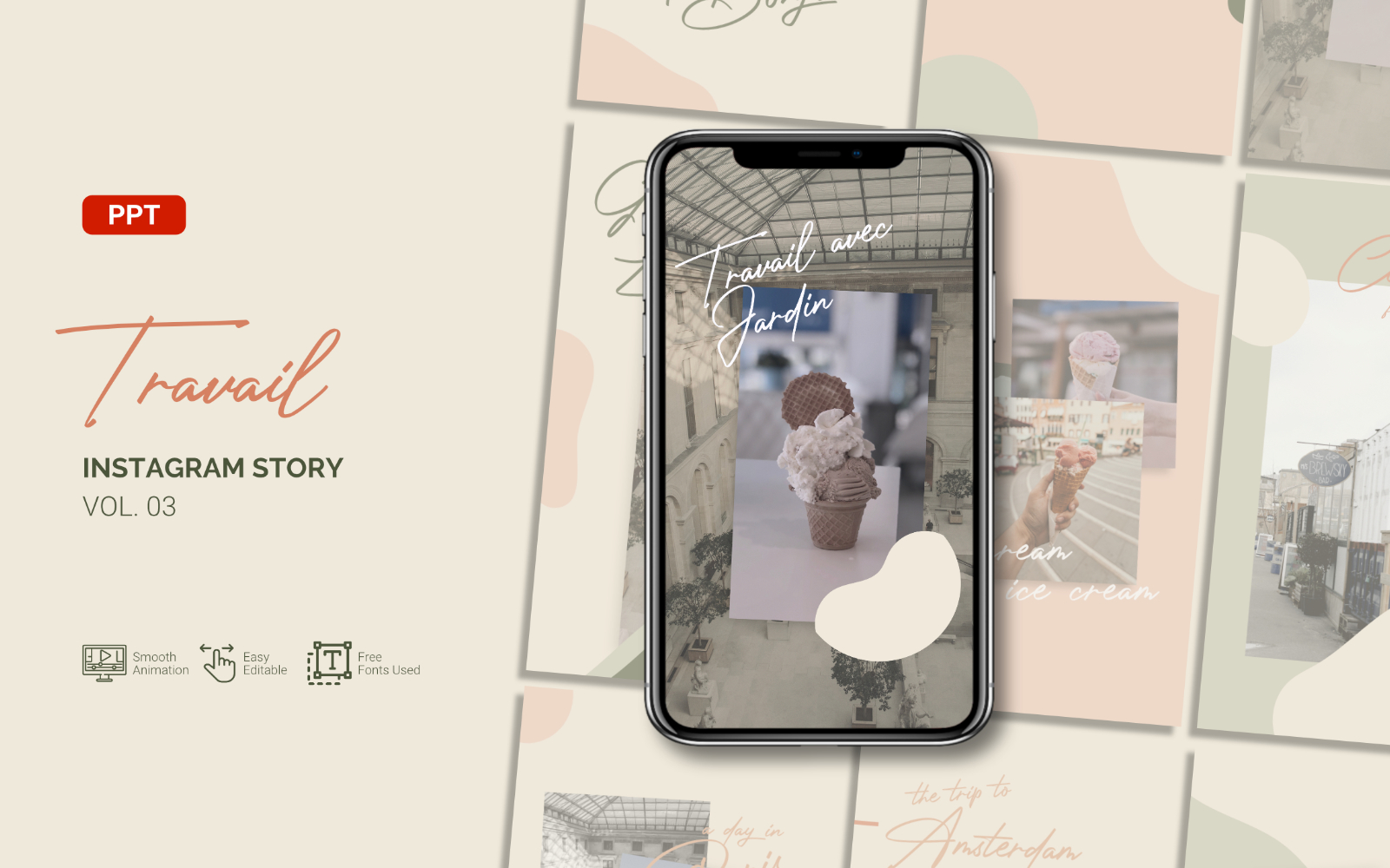 Travail - Tourism Blog Instagram Story - Powerpoint Template