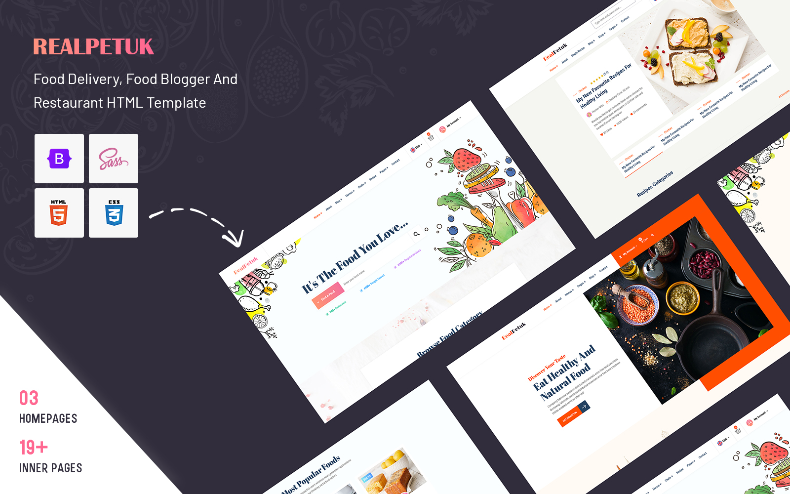 Realpetuk - Food Delivery, Food Blogger and Restaurant HTML Template