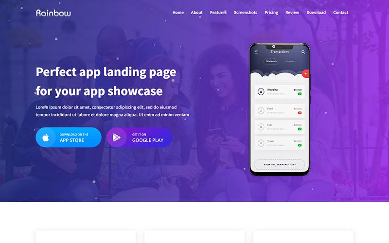 Rainbow - App HTML Landing Page Template