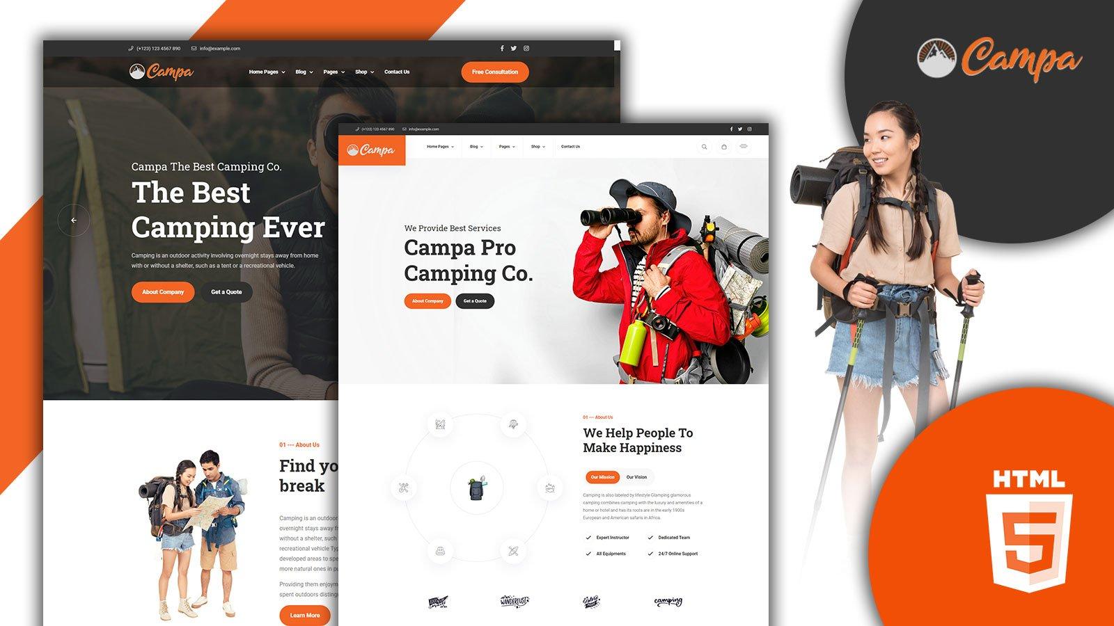 Campa Camping & Adventure HTML5 Website template