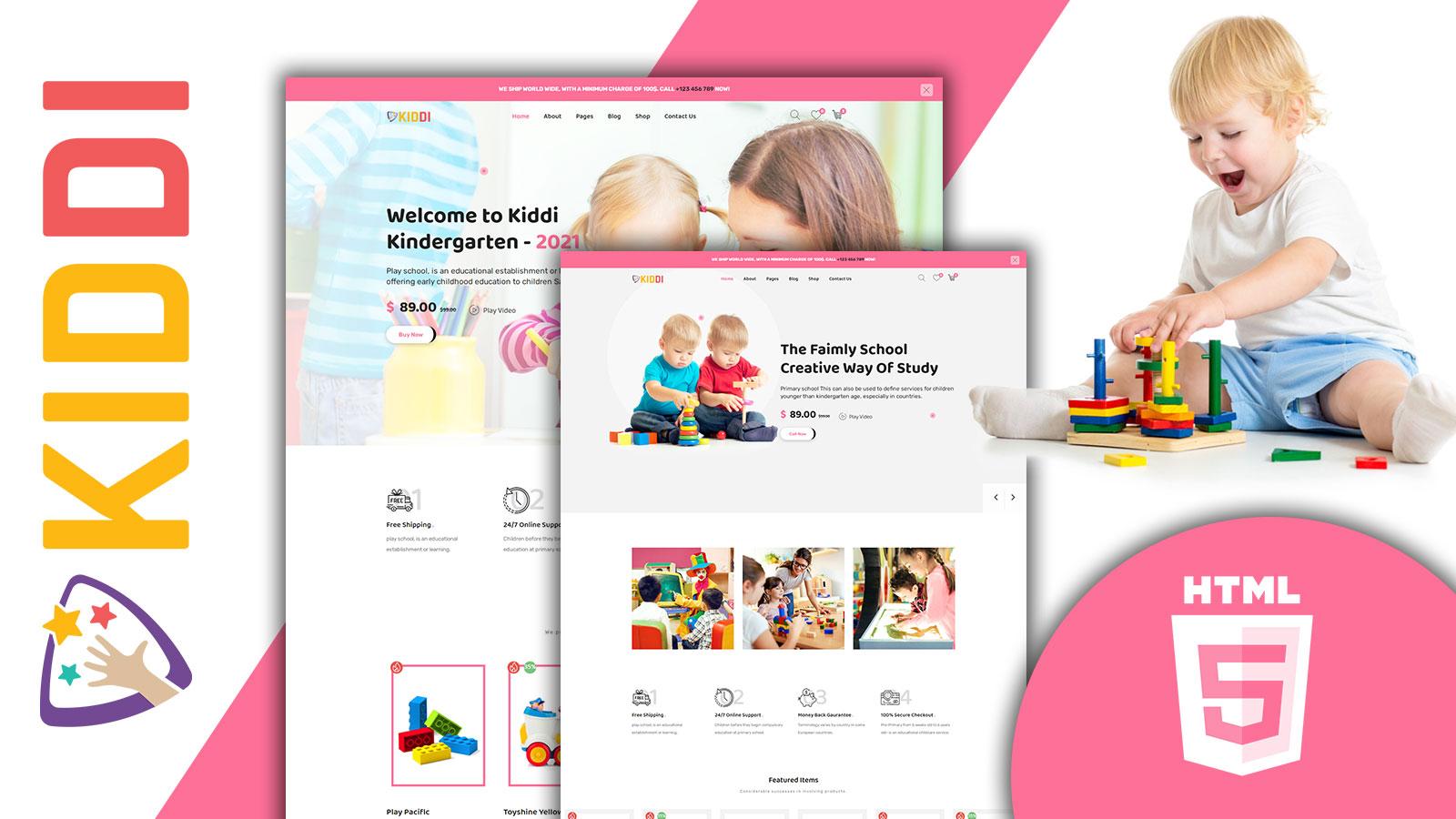 Kiddi Colorful Kids Store HTML5 Website template