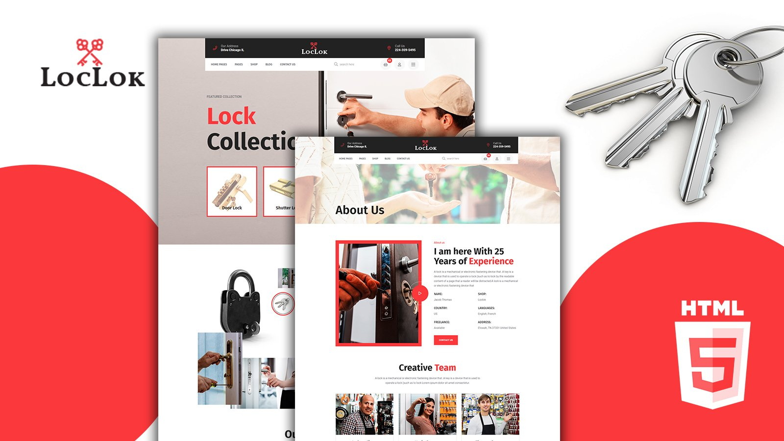 Loclok Locksmith and Security Systems HTML5 Template