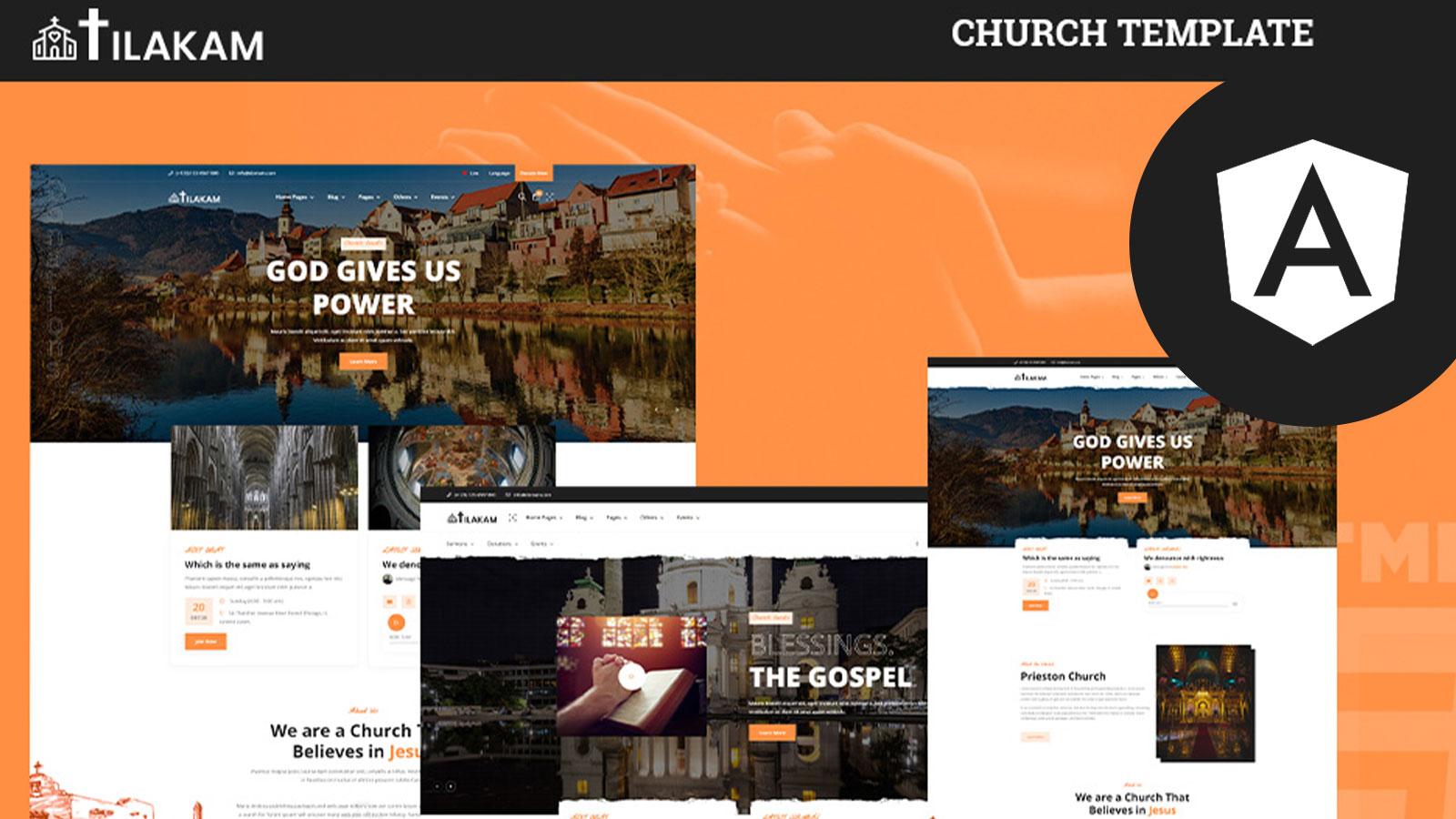 Tilakam church and Non-profit Angular Template