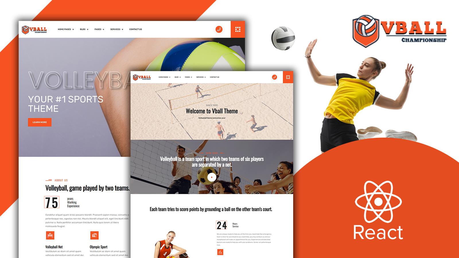 Vball - Volleyball Sports React JS Website template