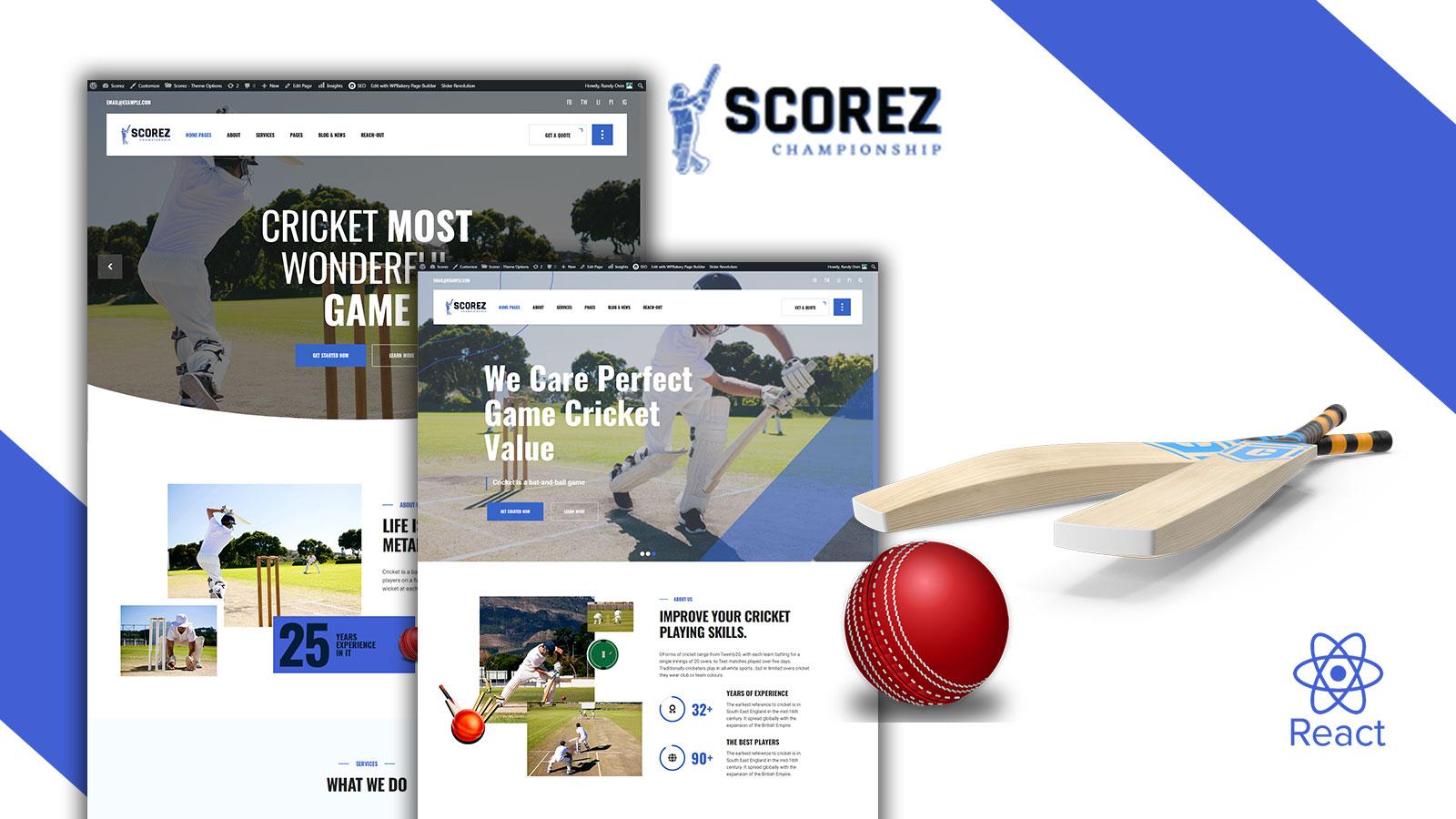Scorez Ball Sports React Js Website Template