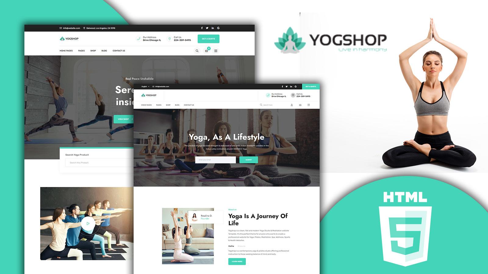 Yogshop Clean Yoga Studio HTML5 Website template