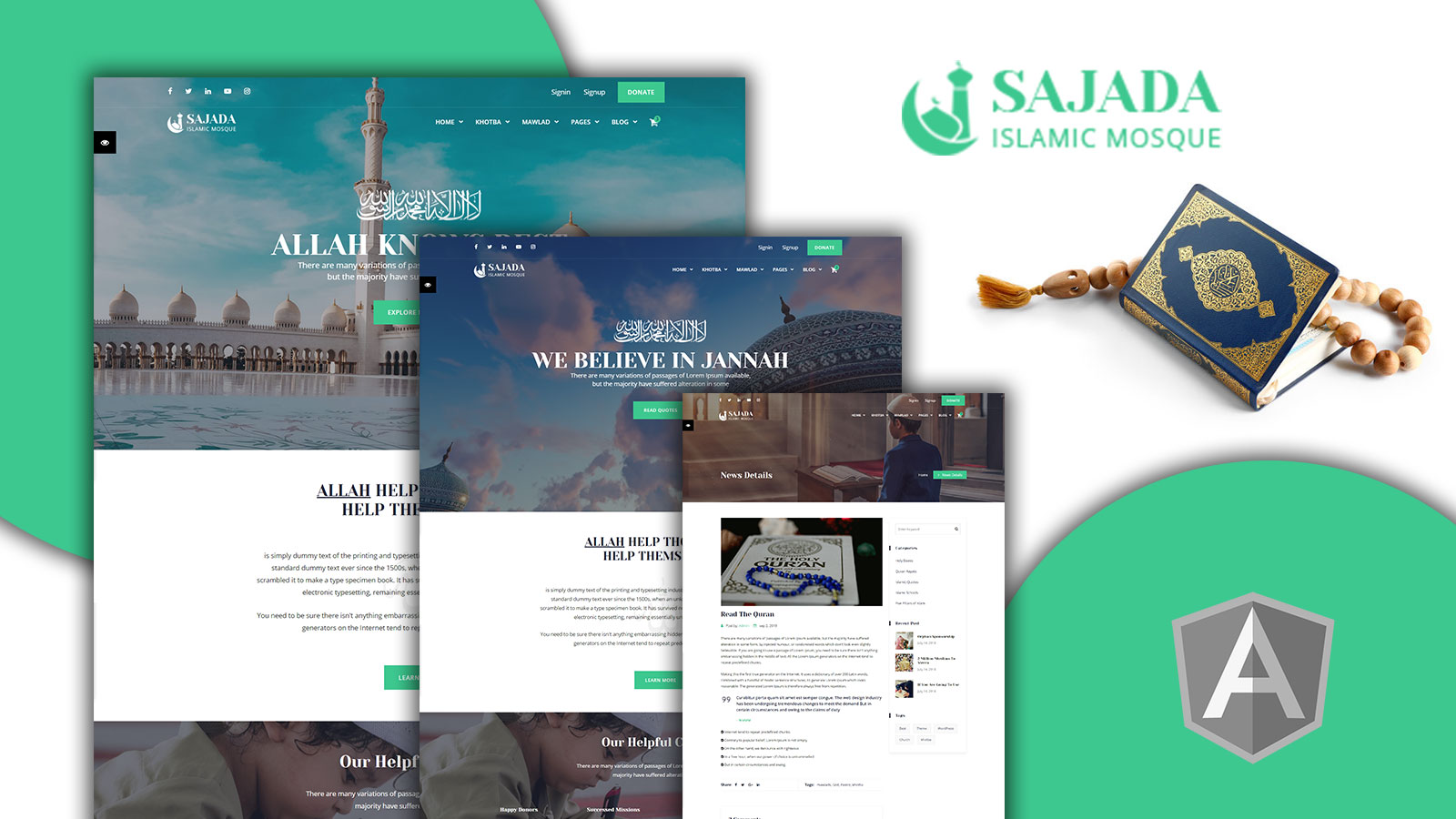 Sajdah - Islamic Mosque Angular Website Template