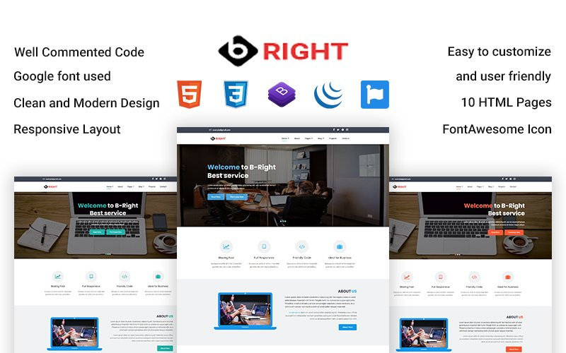 B-Right -  Corporate Business HTML Website template