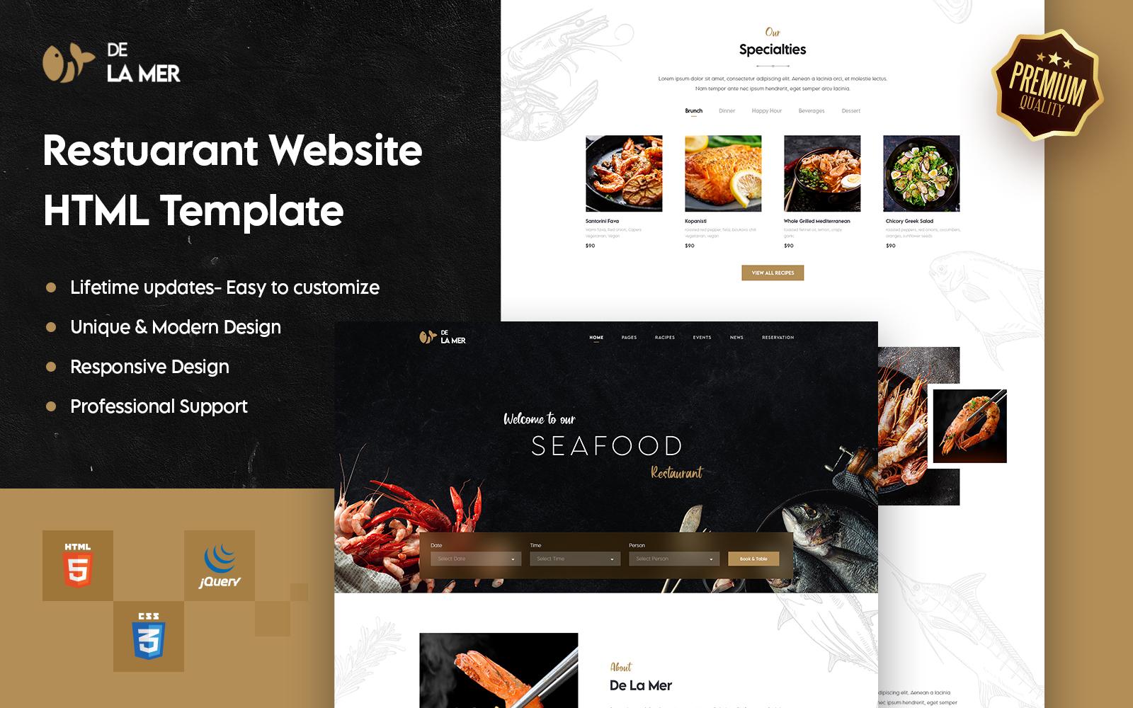 Delamer - Restaurant & Food HTML Website Template