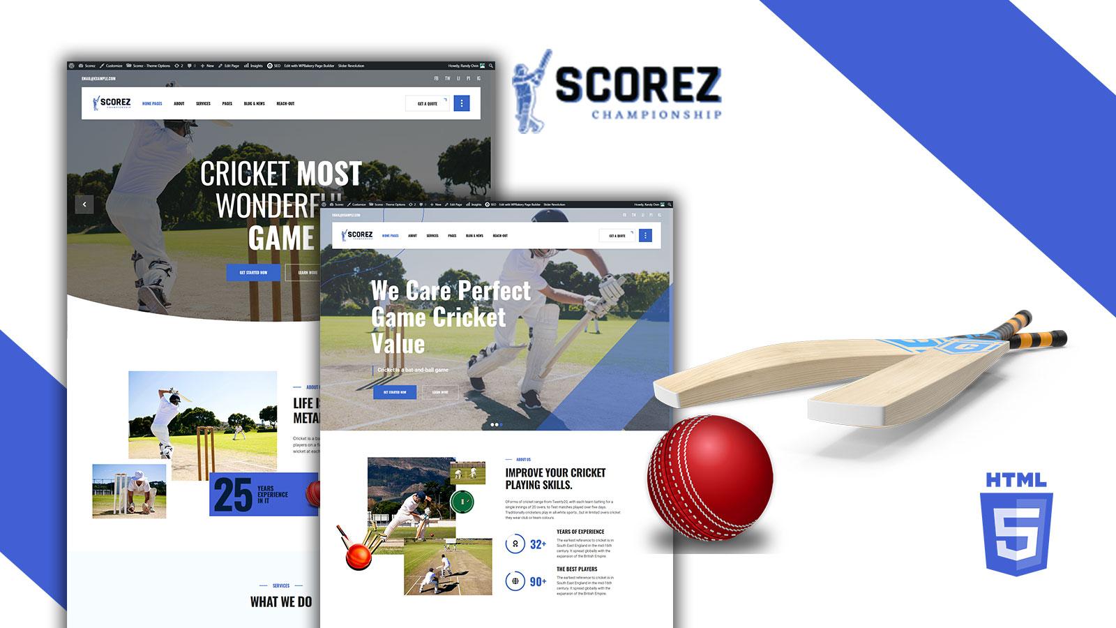 Scorez Cricket and Baseball HTML5 Website template