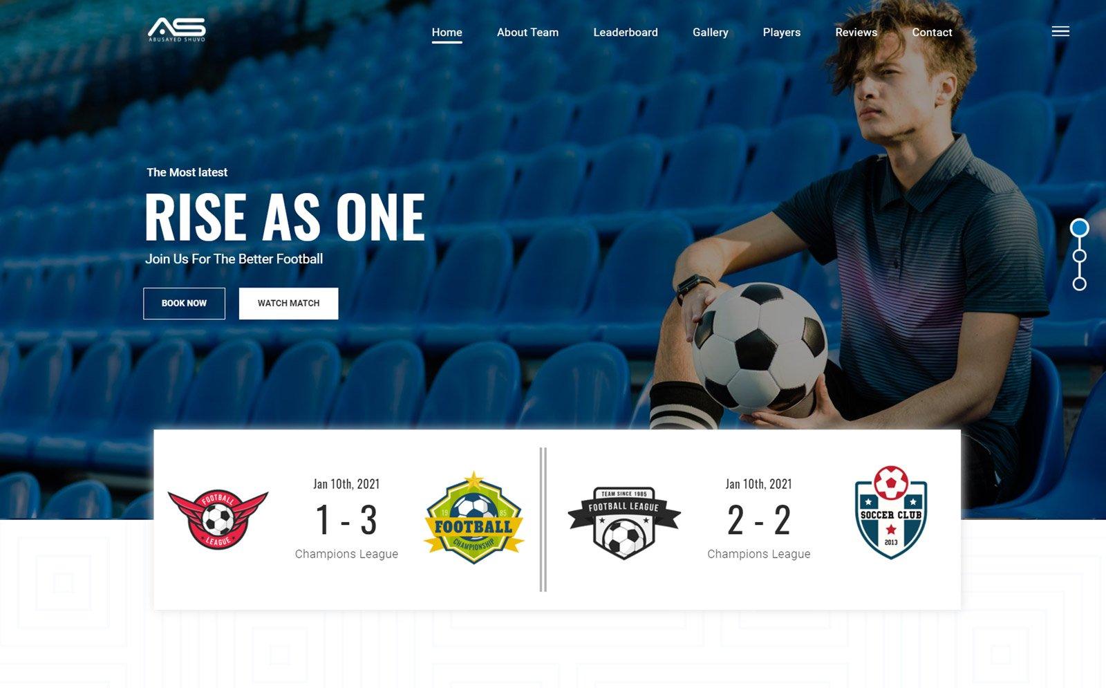 Bijoy | Football Club HTML5 Landing Page Template
