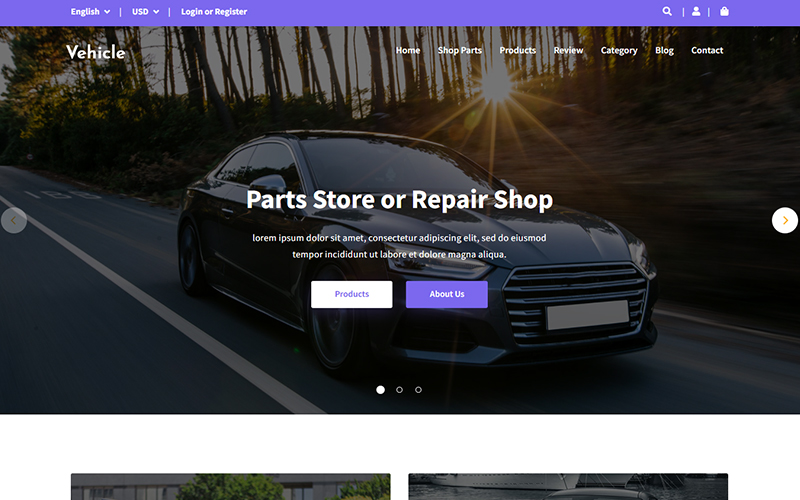 Vehicle - Car Parts Store Landing Page Template
