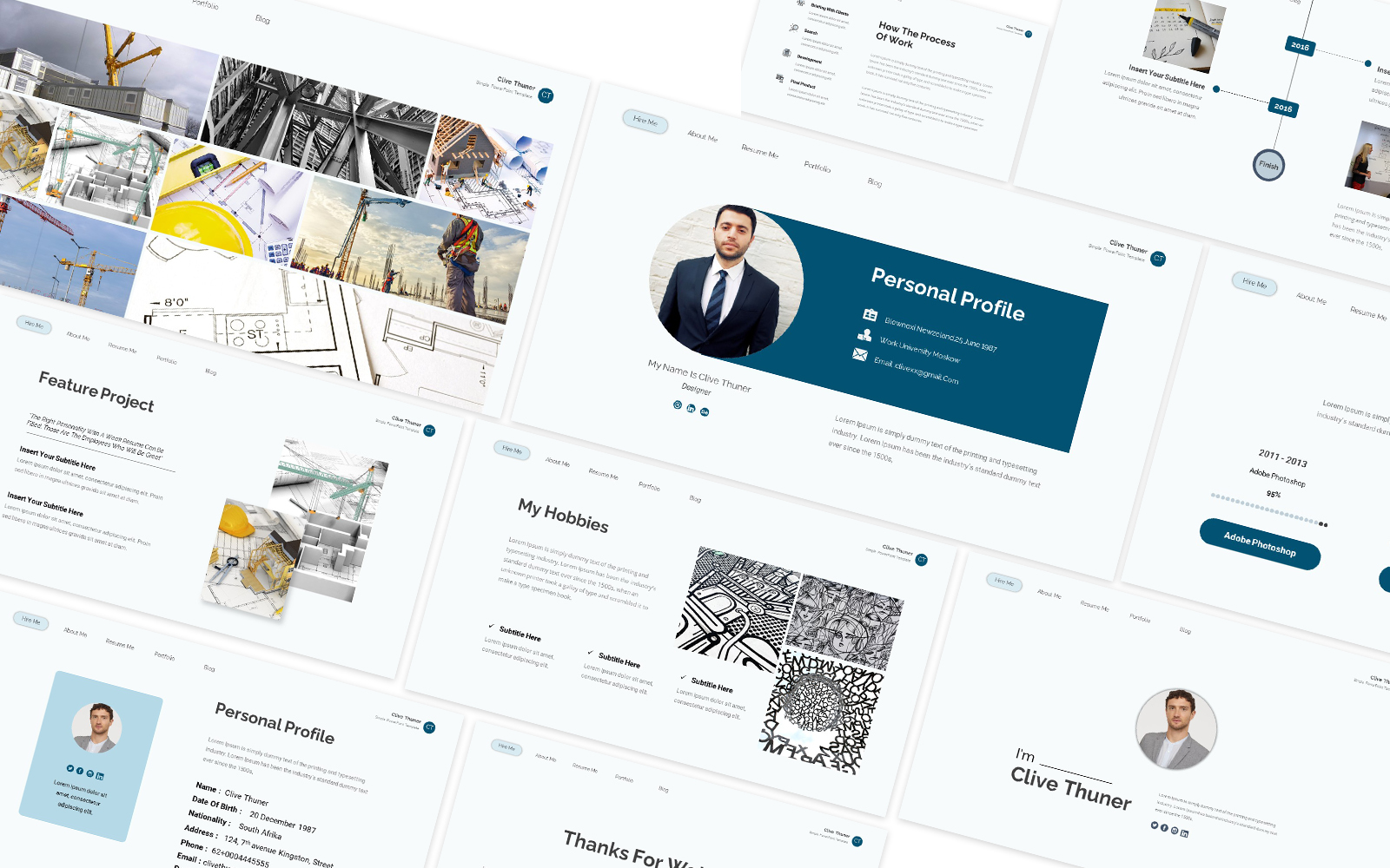 Clive Thuner Resume Powerpoint Template
