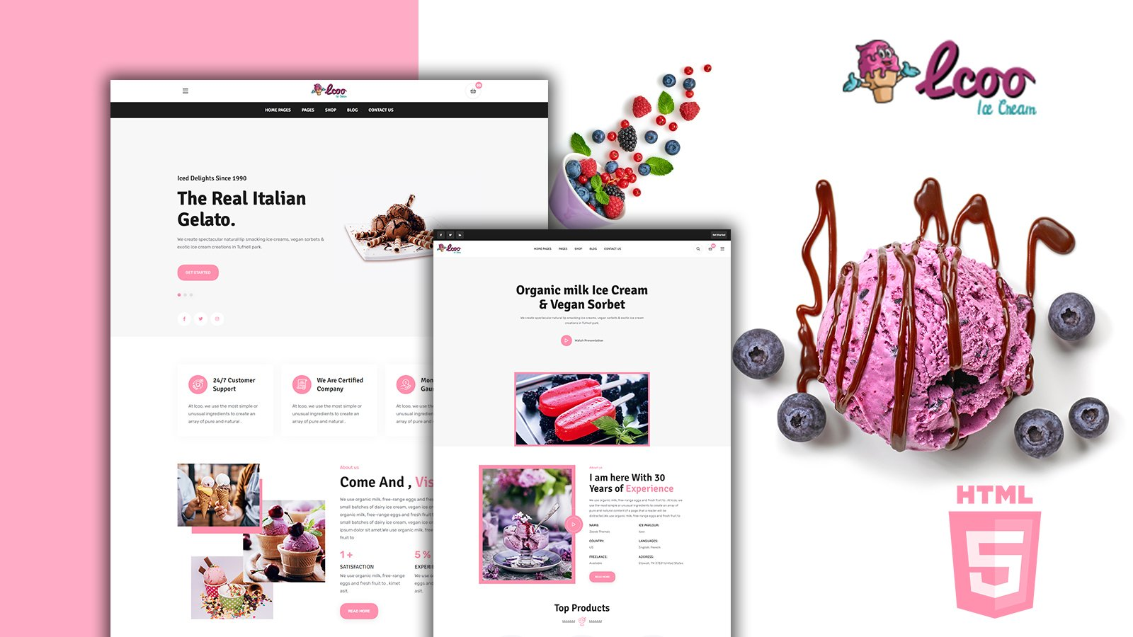 Icoo Modern Desserts and Sweets HTML5 Webite Template