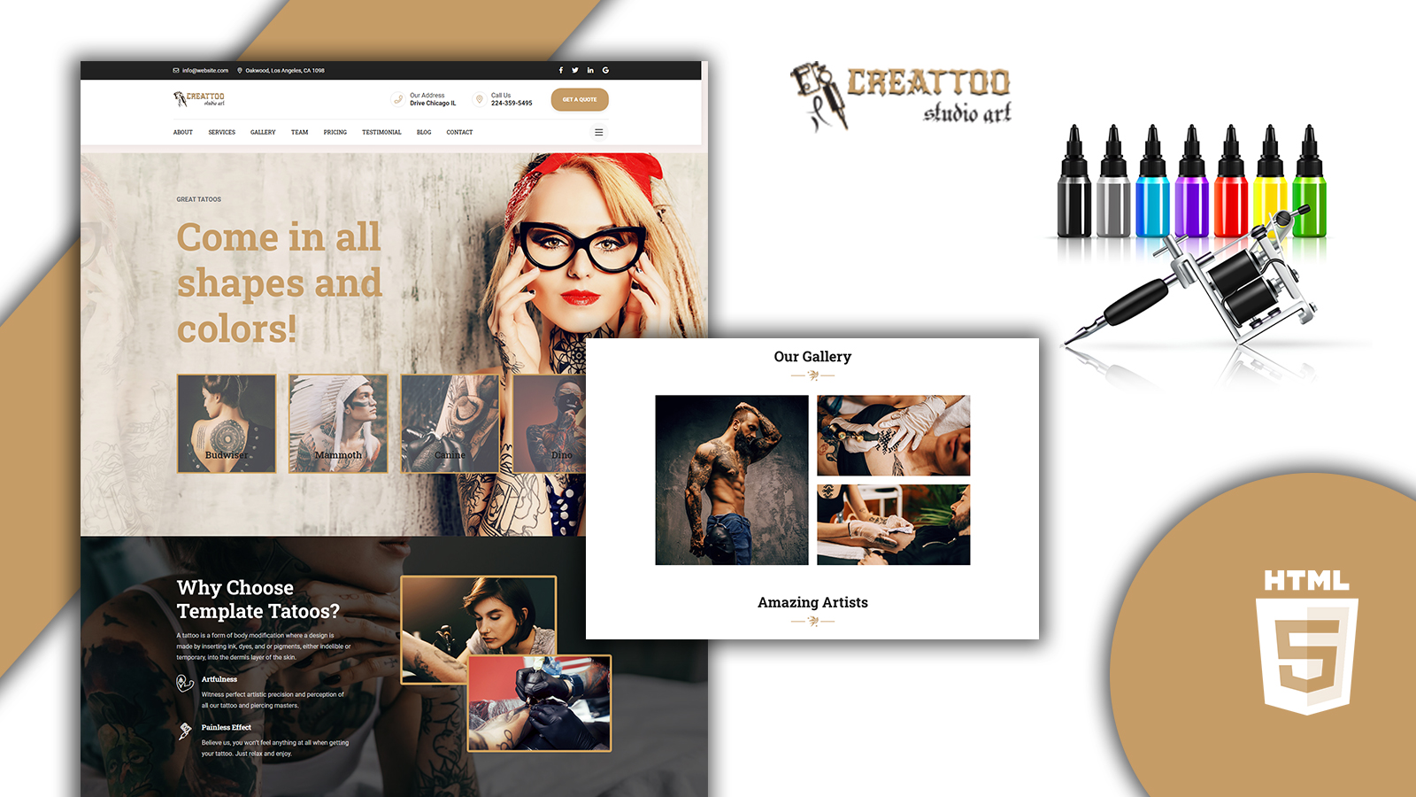 Creattoo - Tattoo Maker HTML5 Landing Page