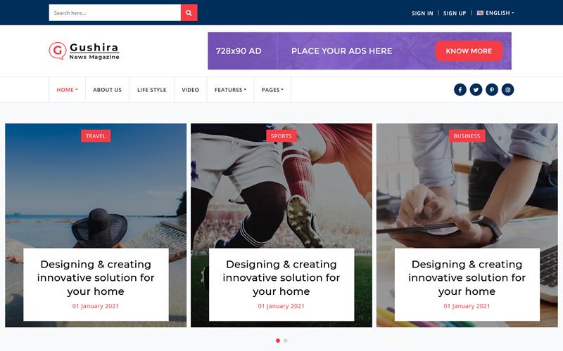 Gushira - News Magazine Responsive Multi page HTML Template