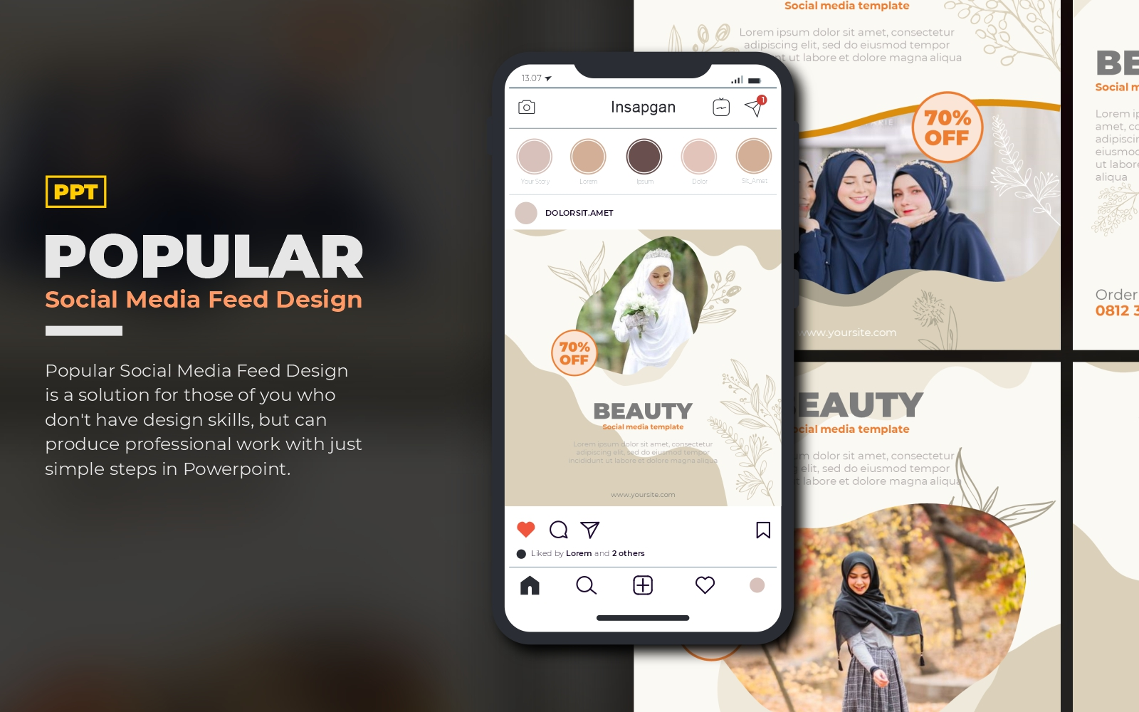 Popular Social Media Feed and Story PowerPoint Template