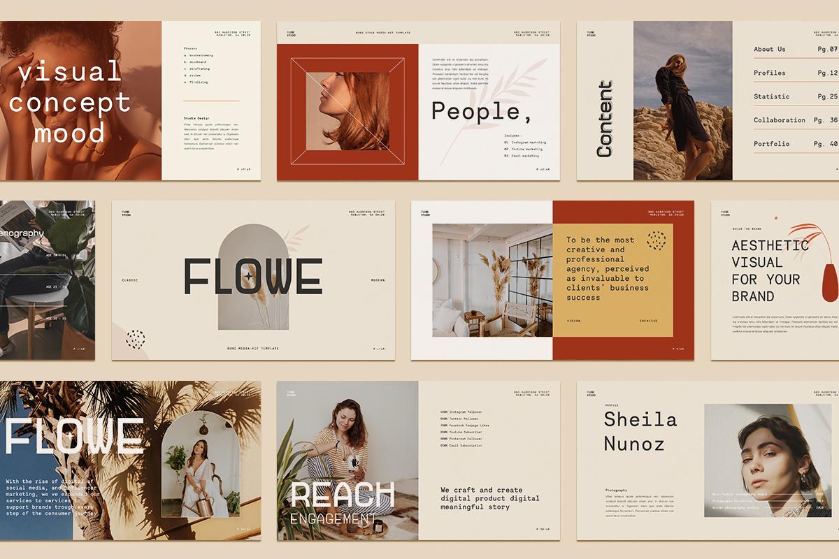 Flowe - Media Kit PowerPoint Template