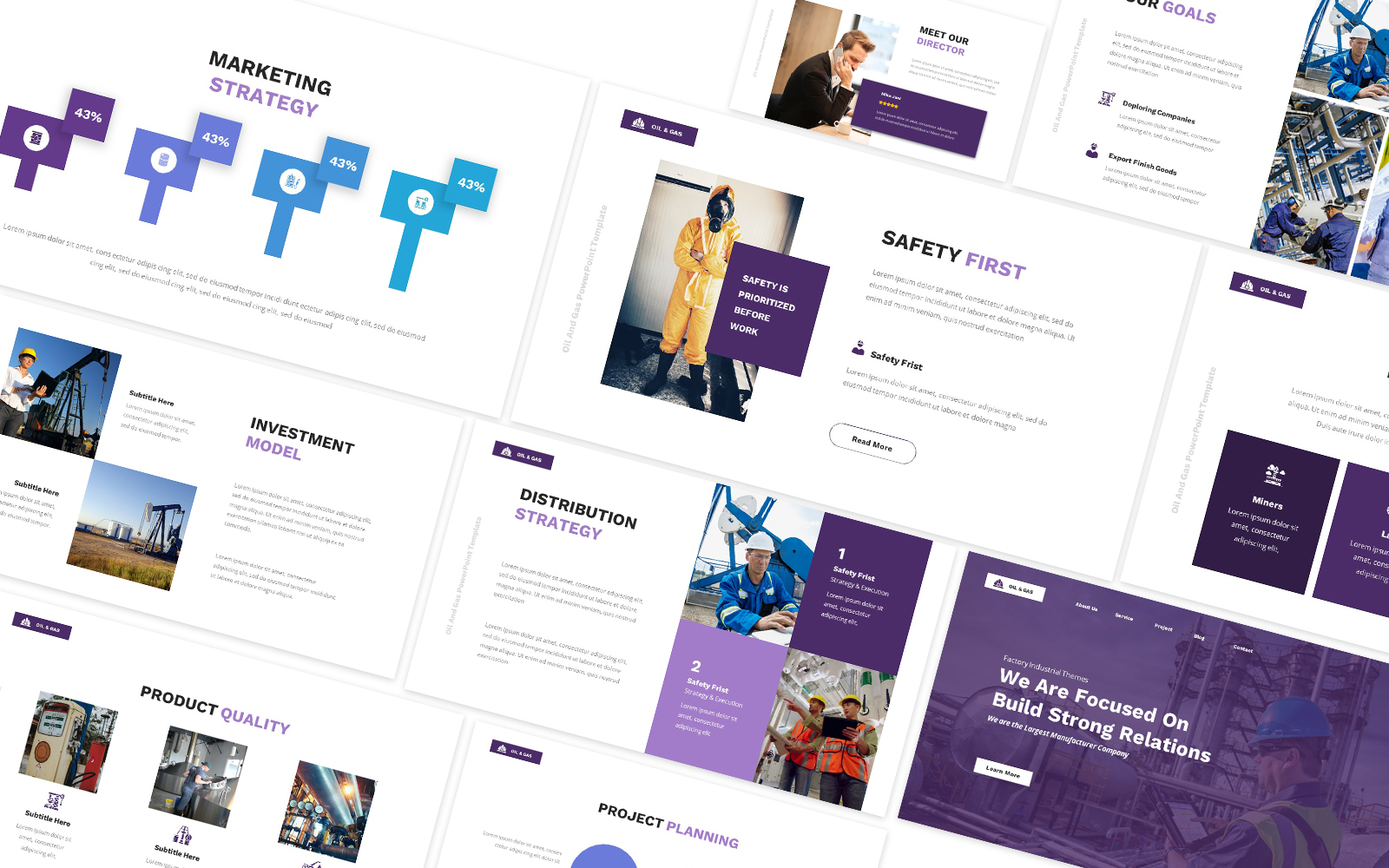 Factory Industrial Oil & Gas Powerpoint Template