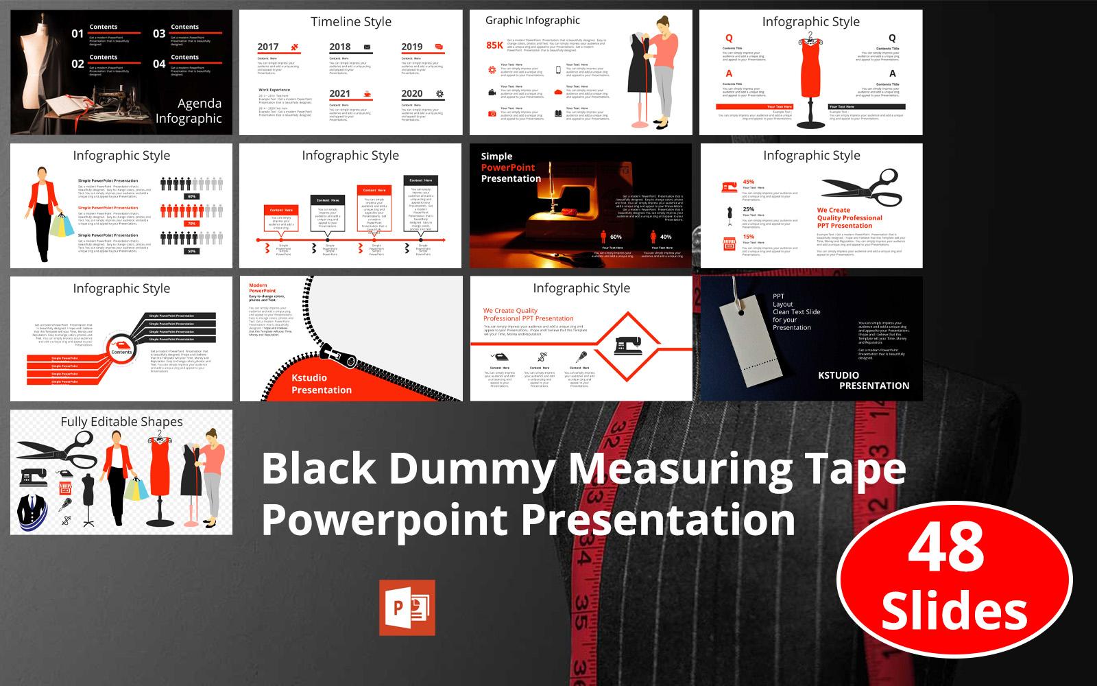 Black Dummy Measuring Tape Presentation PowerPoint Template
