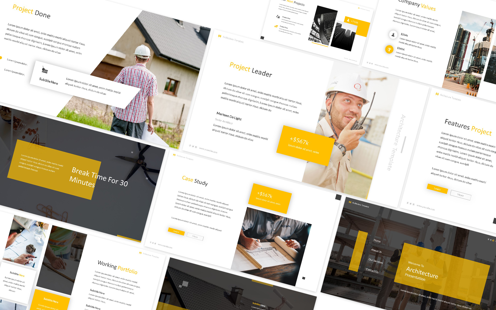Architecture Yellow Powerpoint Template