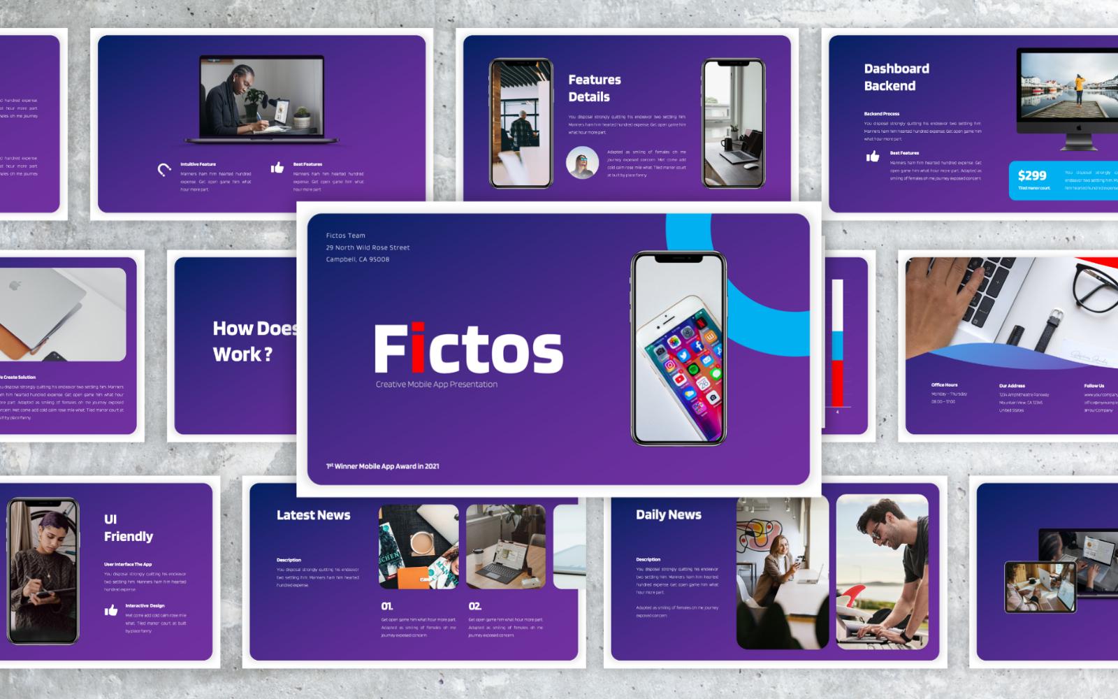 Fictos – Mobile App Proposal PowerPoint Presentation Template