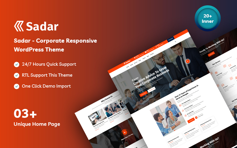 Sadar Corporate & Business WordPress Theme