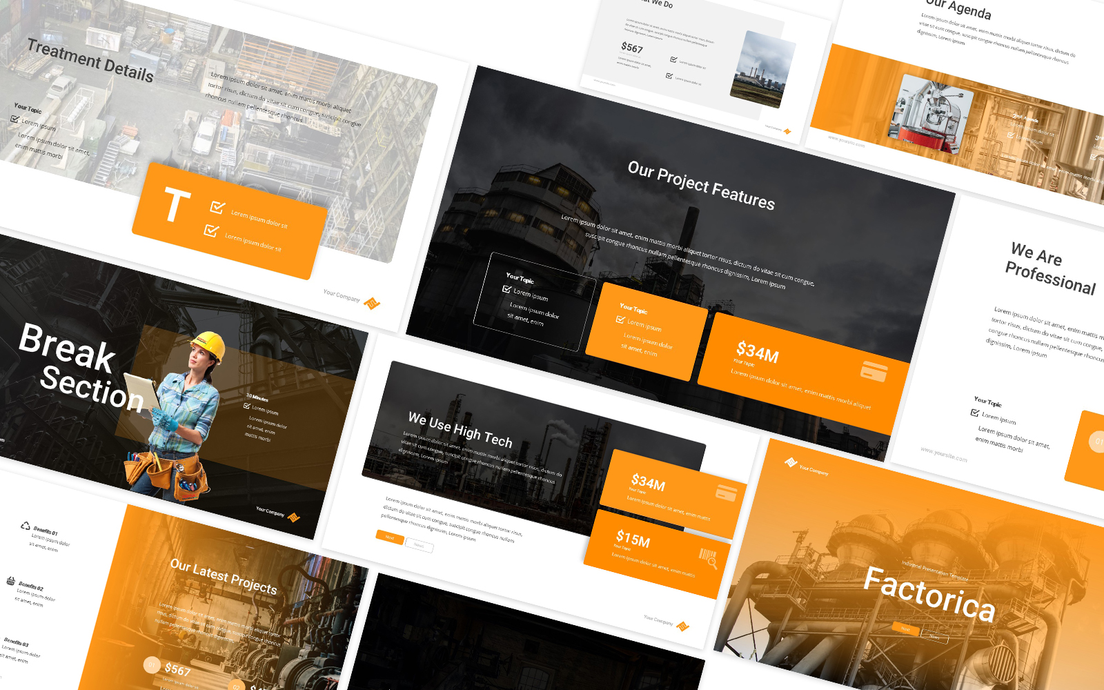 Factorica Factory Industrial Powerpoint Template
