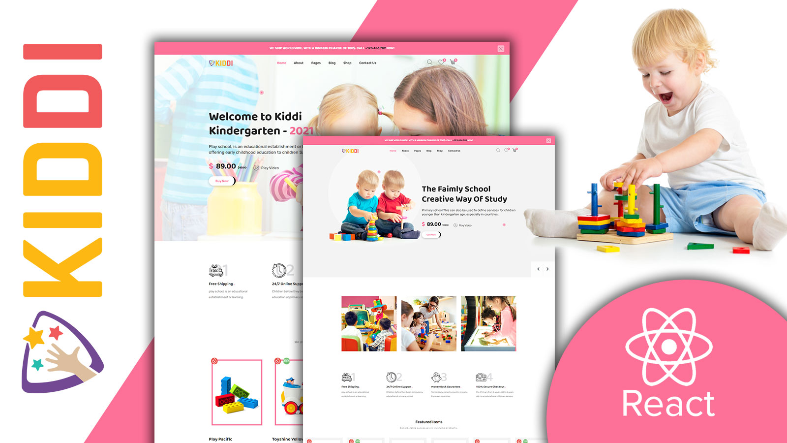 Kiddi Responsive Babies Ecommerce Shop React JS Website Template
