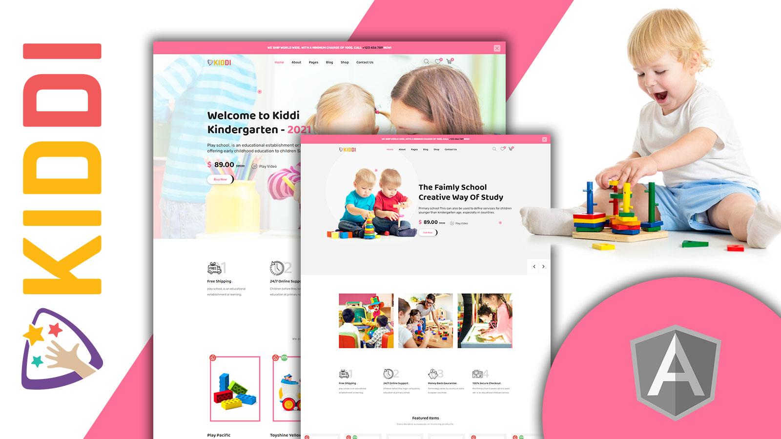 Kiddi New Born Kids Store shop Angular Website Template