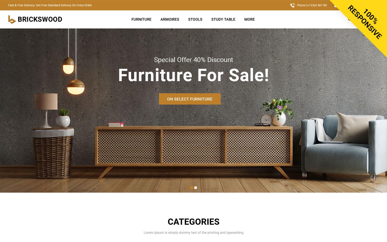 Brickswood - Furniture Store OpenCart Template