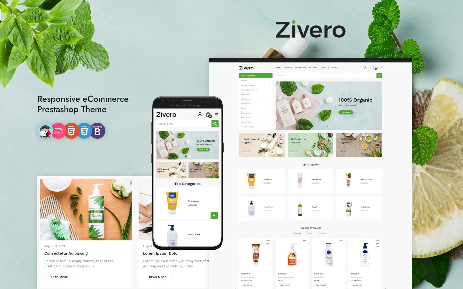Zivero - Organic & Beauty PrestaShop Template