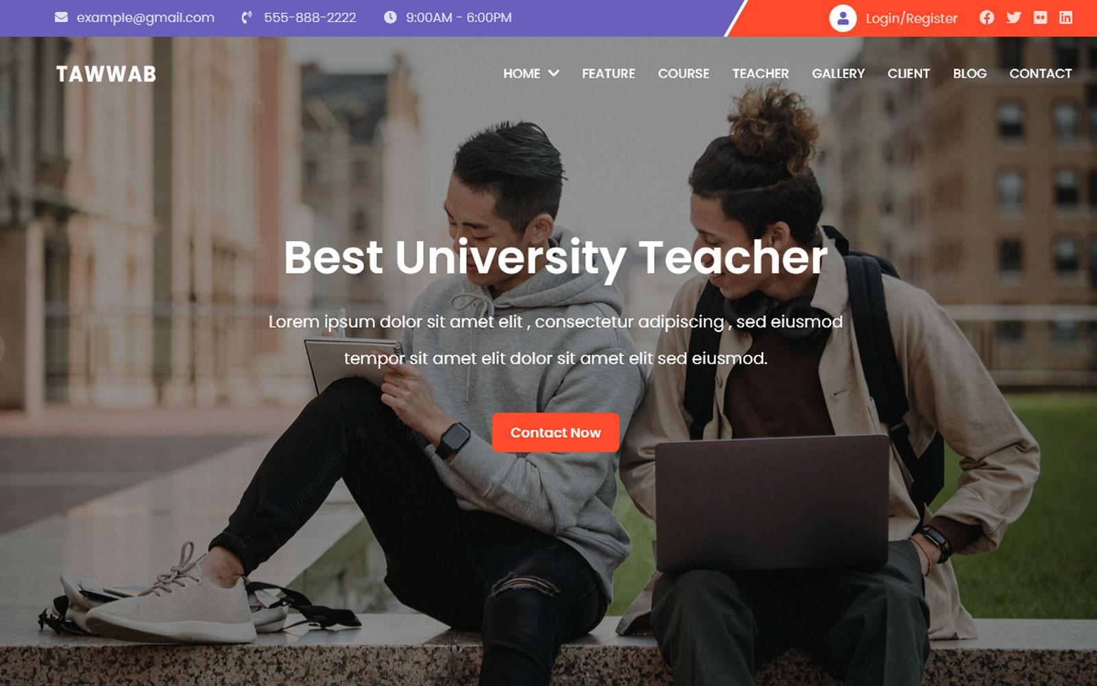 Tawwab - Online Course  Landing Page Template