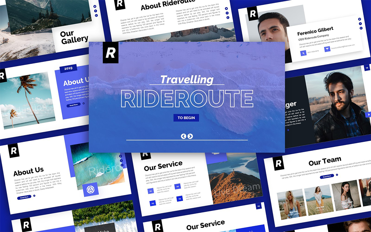 Rideroute Travelling Presentation PowerPoint Template
