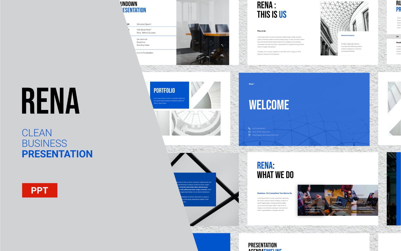 Rena - Clean Business Presentation - Powerpoint Template