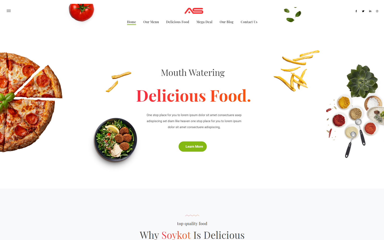 Soykot   Fast Food & Pizza Restaurants HTML5 Landing Template