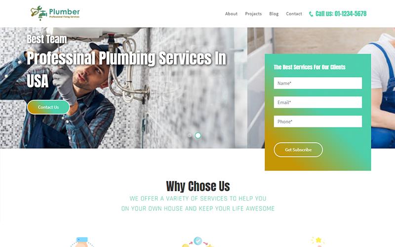 Plumbing Website Landing Page Template
