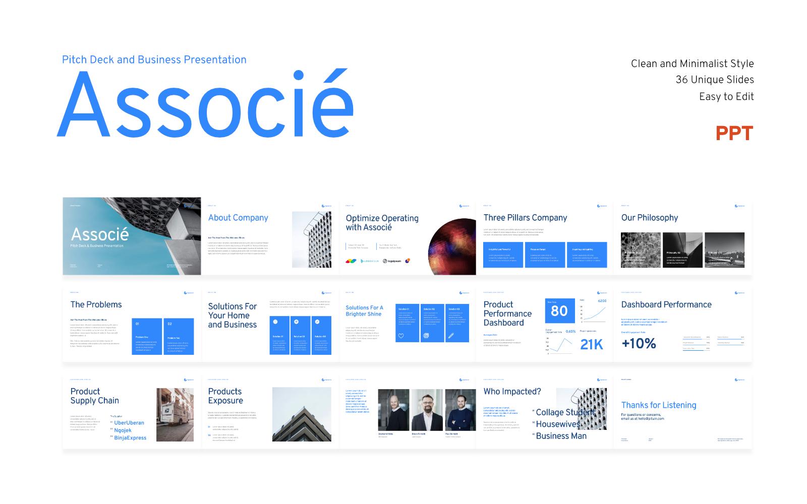 Associe - Pitch Deck Business Presentation - Powerpoint Template